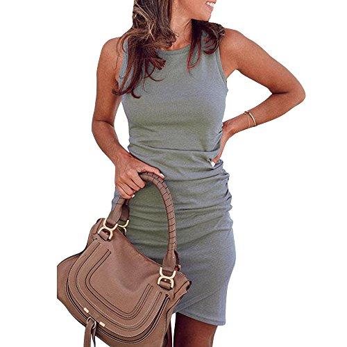 OE-LETG Cute Bodycon Dress for Women Summer Casual Sleeveless Mini Sheath Dress Grey S by OE-LETG