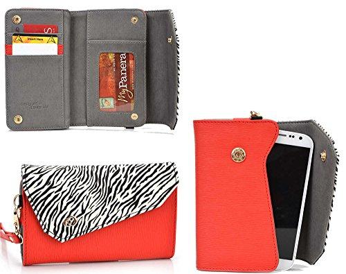 (Kroo Link Wallet in Red Zebra Blend Universal fit for Lava Iris 400Q, Iris 400s, Iris 404e, Iris 405+, Iris 406Q, Iris, Iris Pro 30, Iris X1, Iris X1 Atom S, Iris X1 mini Case)