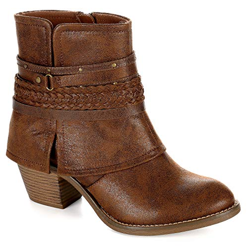 Limelight Womens Myka Zip Up Ankle Boot Shoes, Brown, US 10