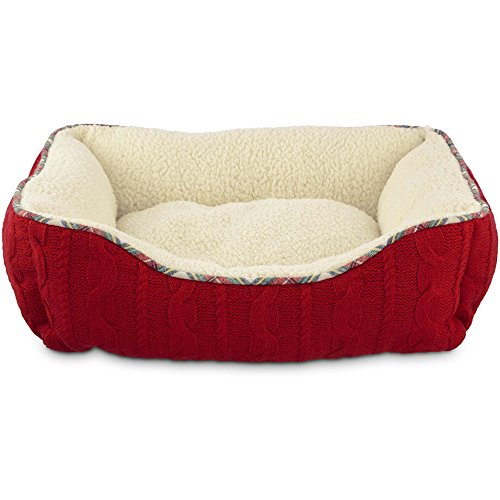 Heritage Pets Red Cable Knit Nester Dog Bed - 20