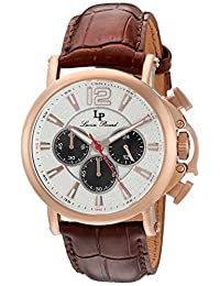 Lucien Piccard Men's 'Triomf' Quartz Stainless Steel and Leather Automatic Watch, Brown (Model: LP-40018C-RG-02S)