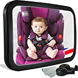 infant auto mirror - SEWTL Car Mirror Baby for Rear Facing Car Seat - Extra Large Size Shatterproof Stable 360 Degree Adjustable Fully Assembled - with Cloth and 2 Headrest Hooks