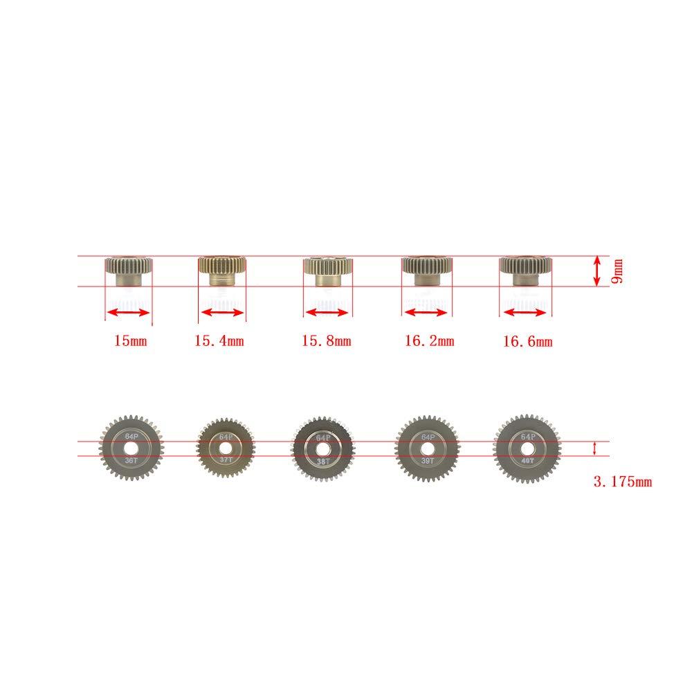 Jrelecs 64DP 3.175mm 36T 37T 38T 39T 40T Pinion Motor Gear Set for 1//10 RC Car Brushed Brushless Motor J/&R Electronic CO Ltd
