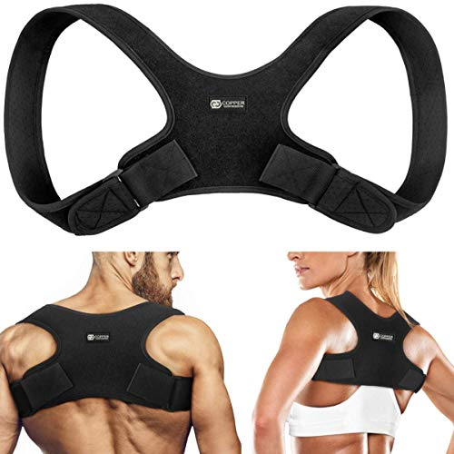 Copper Compression Posture Corrector for Men and Women - Guaranteed Highest Copper Back Brace Posture Support Correctors. Adjustable Straightener Supports Shoulder and Upper Back for Correct Posture (Copper Fit Waistband)