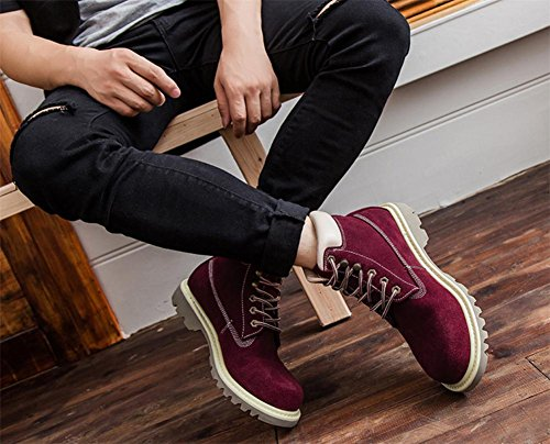 Lace Red Heel Ankle Real Spring Outdoor Wine Women's Autumn Leather Shoes British Locomotive Style Leisure Low Boots up dqIwxtTw