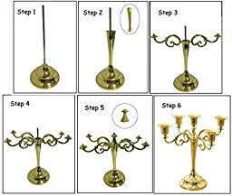 Happy Lifestyles Classic Beautiful Metal Candle Stick Candle Holder 5 Stands Golden