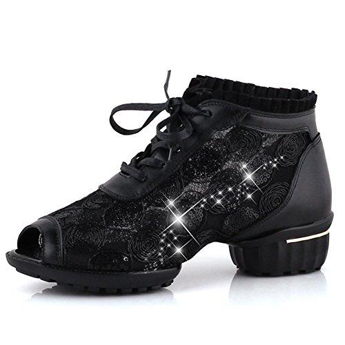 PENGFEI Zapatos De Baile Sandalias Danza Cuadrada Primavera Y Verano Hilo De Red Respirable Fondo Suave Incrementar Hembra, Altura Del Tacón 4.5 CM, 3 Colores ( Color : Negro , Tamaño : EU38/UK5.5/US7 Negro