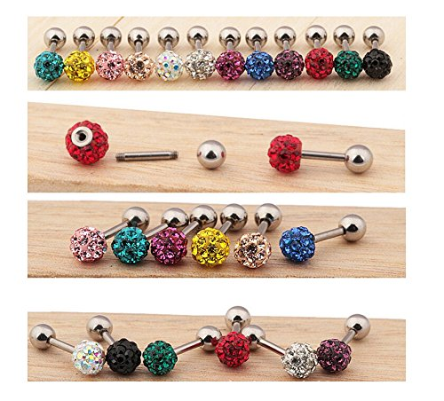 Easting 10pcs CZ Gem Beads 16G Stainless Steel Bar Tragus Cartilage Ear Studs Earrings-3mm