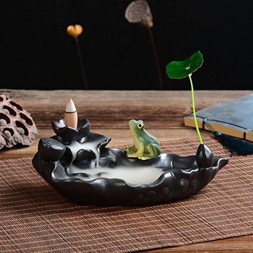 SYNPIE Incense Cone Stick Burner- Porcelain Lotus Base Resin Frog Incense Cone Burner Incense Stick Holder & 10 Incense Cones 1 Leaf for Home Fragrance Home Decor ()