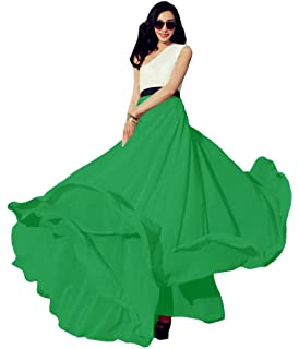 Urban CoCo Womens Summer Chiffon Mopping Floor Length Big Hem Solid Beach Maxi Skirt