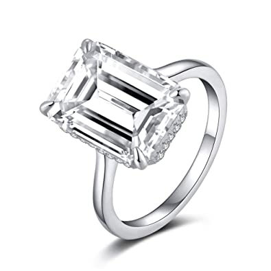 9297921d30735 Erllo 6 Carat Platinum Plated Sterling Silver Emerald Cut Cubic Zirconia CZ  Solitaire Engagement Wedding Ring 925 Sterling Silver