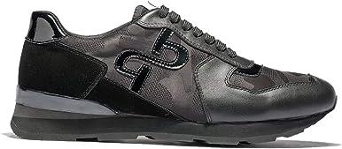 OPP - Zapatillas deportivas de piel para hombre, con cordones de goma, suela suave