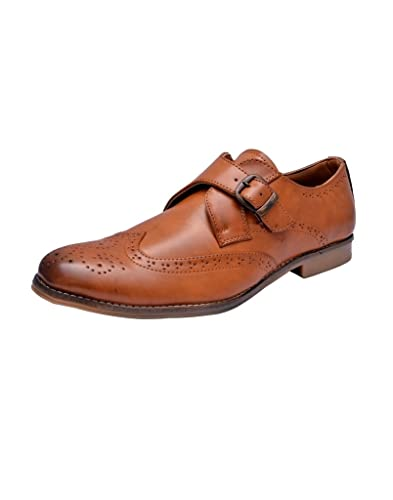 Hirel S Men Tan Monk Strap Brogue Formal Shoes Buy Online At Low