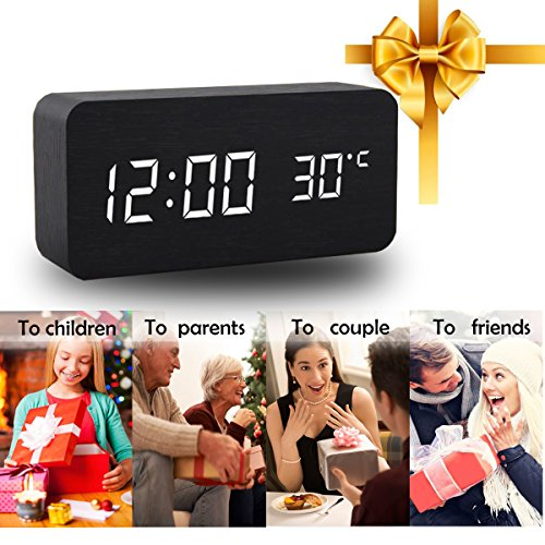 Alarm Clock,Wood Digital Alarm Clock, Wooden Wake Up Bedside Travel Alarm Clock with Time Temperature Humidity Sound Control Led Alarm Clock for Home Bedroom Office-triangle by Girlsight (Image #3)