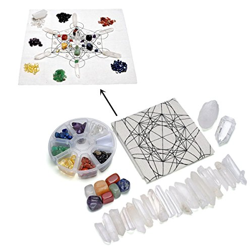 QGEM Chakra Healing Crystal Grids Kit/Lot of Assorted Chips Gemstones, 7 Chakra Tumbles,Rock Crystal Quartz Points Wands Sticks,Metatron's Cube Sacred Geometry Crystal Grids Altar Cloth,#7