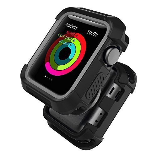 UMTELE Compatible with Apple Watch Case 42mm, UMTELE Shock Proof Bumper Cover Scratch Resistant Protective Rugged Case Replacement for Apple Series 3/2/1 42mm, Nike+, Black/Grey