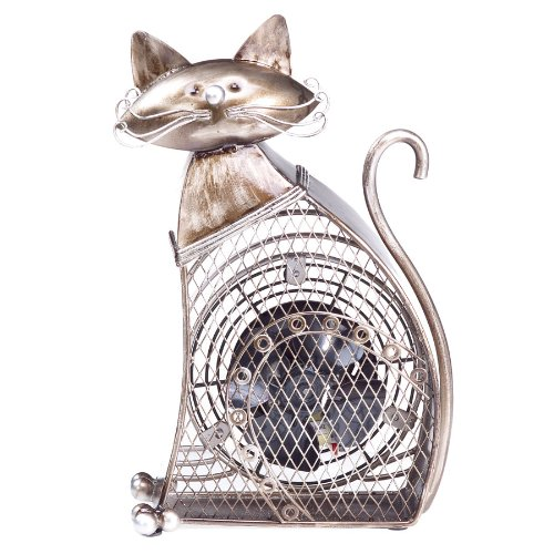 DecoBREEZE Decorative Table Fan, Desk Fan, Single Speed Electric Tabletop Fan, Figurine Fan, 4 inch, Small Cat