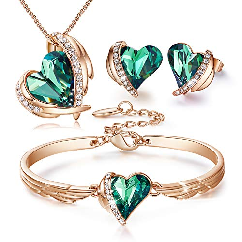 CDE Green Necklaces Earrings Bracelet for Women Heart Jewelry Set Crystals from...