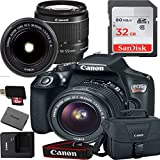 Canon EOS Rebel T6 Digital SLR Camera with EF-S 18-55mm IS II Kit Accessory Bundle + 32GB SD Card + Canon Case
