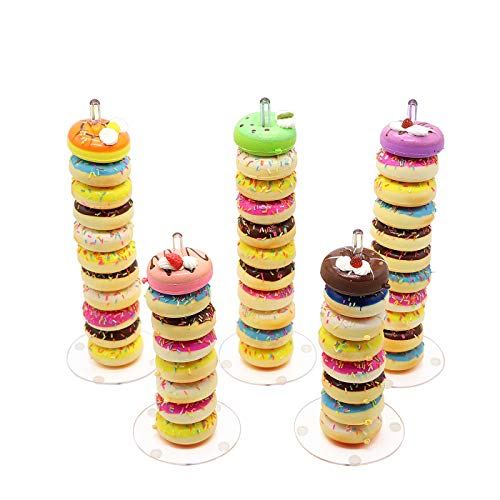 DYCacrlic Acrylic Donut Stands 5 Pieces,Clear Donut Bagels Display Stand Holder for Wedding Birthday Treat Parties(5 Pack) ()