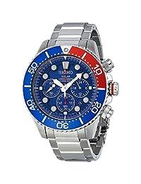 Seiko Men's SSC019 Solar Diver Chronograph Blue Dial Watch