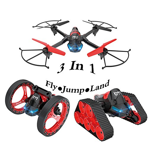 1 RC Tank Bounce Car with Quadcopter Drones for Kids Toys ()