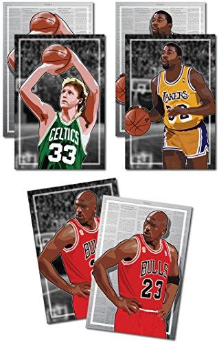 3 Posters of 80's-90's NBA - Michael Jordan, Larry Bird, Magic Johnson Art Prints - Buy 1 Get 2 Free, 3 total prints (2-sided) (Large Set - - One Buy Oakley One Get