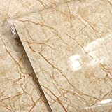 Emoyi New Brown Wire Marble Gloss Vinyl Film Contact Paper Peel-stick Counter Top Table Sticker Wrap Film 24''x79''