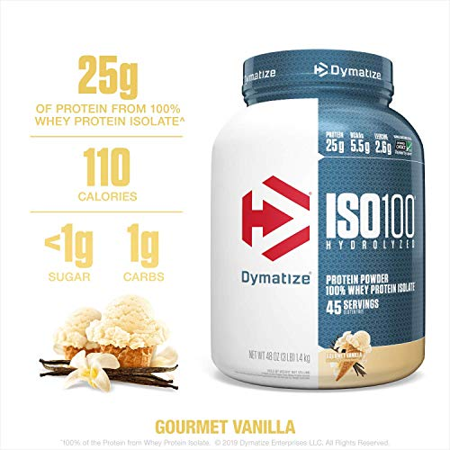 Cheap Dymatize ISO100 Hydrolyzed Protein Powder, 100% Whey Isolate Protein, 25g of Protein, 5.5g BCAAs, Gluten Free, Fast Absorbing, Easy Digesting, Gourmet Vanilla, 3 Pound whey isolate protein powder