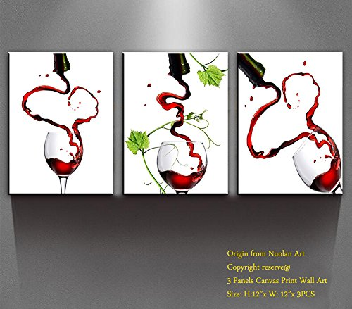 """Price comparison product image Canvas Wall Art- Multi Pieces Canvas Prints """"Love & Red Wine """" Modern Landscape Oil Paintings Pictures for Wall Decor / Home Decoration-Nuolan Art P3L3040-016"""