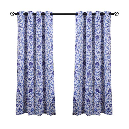 (sgofais Printed Blackout Curtains for Bedroom with Blue and White Porcelain Patterns - Grommet Thermal Insulated Room Darkening Vintage Curtains for Living Room, Set of 2 Panels (52 x 84 Inch))