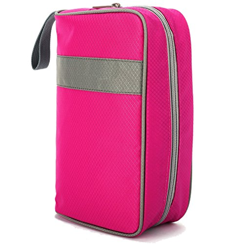 Travel Toiletry Cosmetic Makeup Electronics Wire Case Organizer Bag Kit Case, Small (Hot Pink)