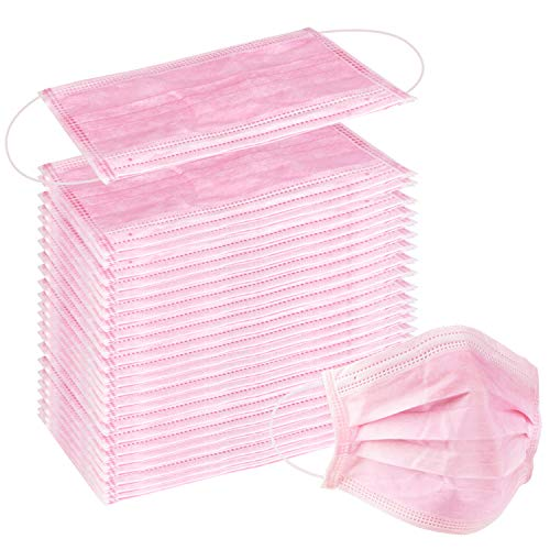 100 Pcs Disposable Earloop Face Masks Dental Surgical Hypoallergenic Breathability Comfort-Great for People with Allergies and The Flu (Pink) from Wecolor
