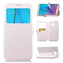 YHUISEN Solid Color Smart Window View PU Leather Wallet Flip Folio Cover Case With Stand/Card Slot For Samsung Galaxy Note 5 ( Color : White )