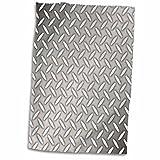 3dRose 3D Rose Gray Steel Diamond Plate Industrial Pattern Hand Towel, 15'' x 22''
