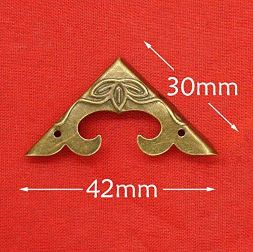 Side Length:30mm, Height:4.5mm 20 Pcs Bronze Corner Protectors Decorative Safety Guards Metal Covers Vintage Antique Right Angle Bracket for Wooden Case Corner Jewelry Box Edge Craft Chest Table
