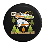 Home Away From Home RV Trailer Campfire Camping Tire Cover Black 30 in