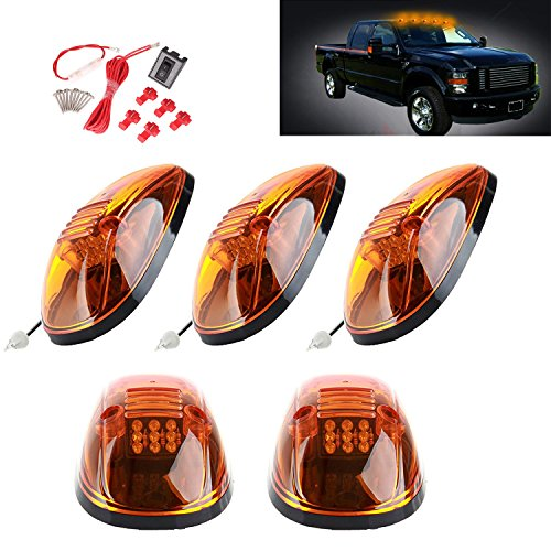 2500 Truck Marker (5 Pcs Amber Lens 9 Amber LED Cab Marker Clearance Light Roof Running Light Assembly For 1999-2002 Dodge Ram 2500 3500 Trucks)