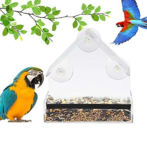 Window Bird Feeder,Newest Bird Feeder, 100% Wild Bird Transparent Viewing, 3 Strong Suction Cups + Seed Tray + Drain Holes, Best Outdoor Bird Feeder Kits, for Cardinal, Wild Birds, Chickadees