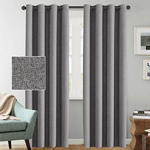 Room Darkening Linen Curtains 84 Primitive Country Decor Luxury Textured Linen Curtains Window Treatment Thermal Insulated Grommet Linen Curtains for Bedroom, 52 by 84 Inch - Grey (1 ()