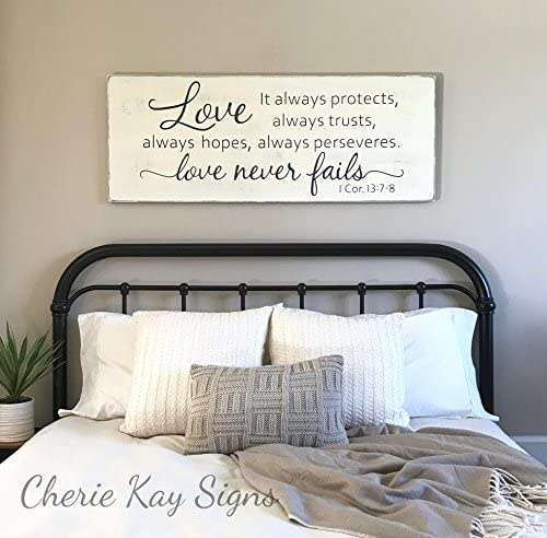 Wood Sign Plaque Master Bedroom Wall Decor Love Never Fails 1 Corinthians 13 Wood Sign Rustic Bedroom Decor Farmhouse Bedroom 24 X 9 2 Amazon Ca Home Kitchen