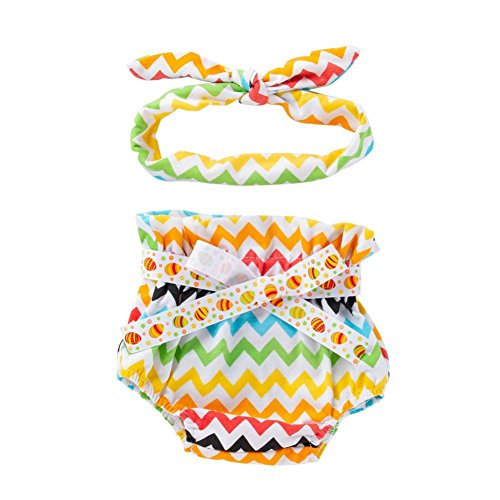 Rucan Baby Girl's Bloomer + Headband Set Bowknot Diaper Covers (A, 12-18 Months)