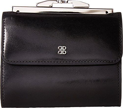"""Bosca Womens Old Leather 4"""" Framed French Purse Wallet (Black, One Size)"""