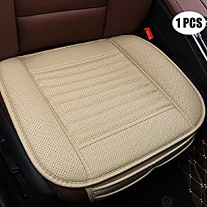 EDEALYN Four Seasons General PU Leather Bamboo Charcoal Breathable Comfortable Car Interior Seat Cushion Cover Pad Mat for Auto Car Supplies Office Chair,1 PCS (Beige)