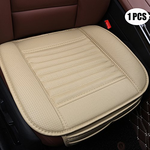 1 Car Seat Cover - EDEALYN Four Seasons General PU Leather Bamboo Charcoal Breathable Comfortable Car Interior Seat Cushion Cover Pad Mat for Auto Car Supplies Office Chair ,1 PCS (Beige)