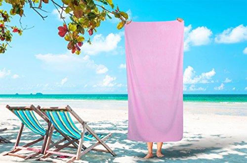 Silken Textile Large 100% Turkish Cotton Ultra Soft Terry Velour Beach Towel Spa Bath Pool by (1, Pink) (Decor Beach Stores Home Laguna)