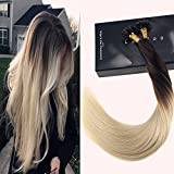 LaaVoo 20 Inch 1g/s Keratin Utip Hair Extensions Brown Ombre Blonde Pre Bonded Remy Human Hair Extensions 50g Review