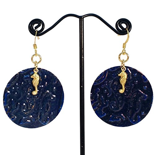 Seahorses Under the Sea Blue Boho Dangle Earrings, Ocean, Beachwear, Hypoallergenic, OOAK (Sapphire Seahorse)
