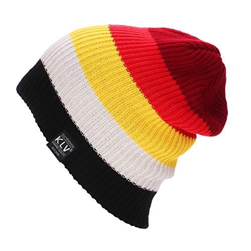 (Challyhope Rainbow Cap Striped Knitted Beanies Skiing Warm Cap Hats Slouchy Snow Ski Caps Headdress (red, Free))