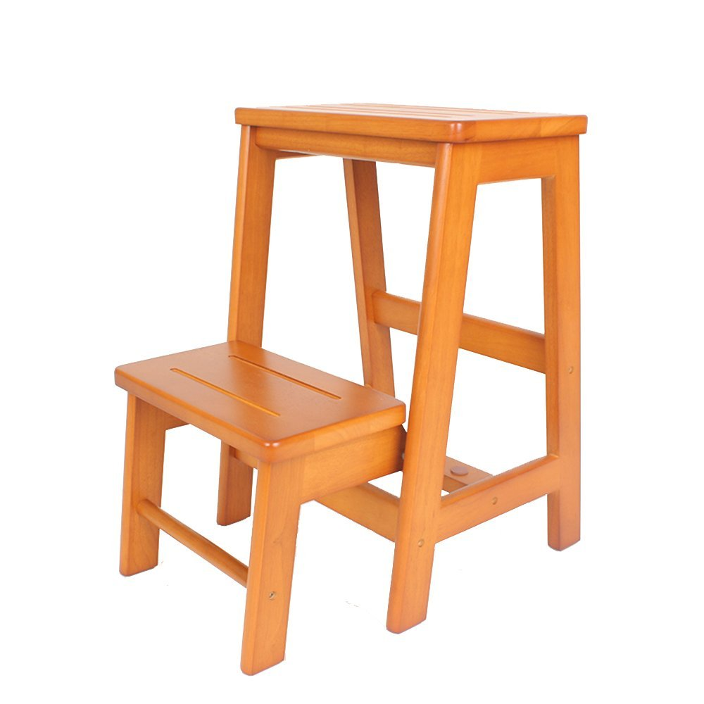 TJTJ 無垢材滑り止め折りたたみ階段スツール多機能階段スツール家庭の台所小さな階段スツール。 - ステップスツール (Color : A) B07RJH13T8 A
